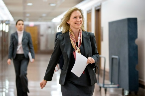 Senator Kirsten Gillibrand arrives for a news conference on Capitol Hill in Washington