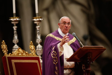 Pope Francis celebrates the Vespri mass in Vatican