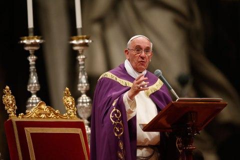 Pope Francis celebrates the Vespri mass in Vatican