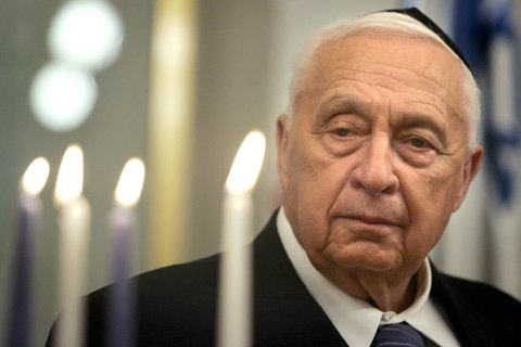 Ariel Sharon Takes Part In Lighting Of Hanukkah Candles