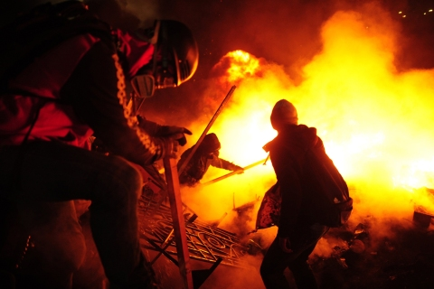 Anti-government protesters clash with police on Independence Square in Kiev on Feb. 19, 2014.